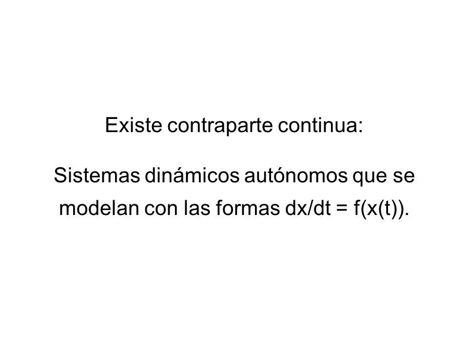 Existe contraparte continua: Sistemas dinámicos autónomos que se modelan con las formas dx/dt = f(x(t)).