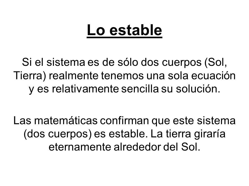 Lo estable Si el sistema es de sólo dos cuerpos (Sol, Tierra) realmente tenemos una sola ecuación y es relativamente sencilla su solución. Las matemát