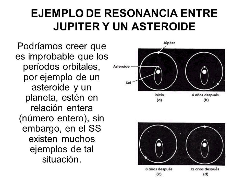 EJEMPLO DE RESONANCIA ENTRE JUPITER Y UN ASTEROIDE Podríamos creer que es improbable que los períodos orbitales, por ejemplo de un asteroide y un plan