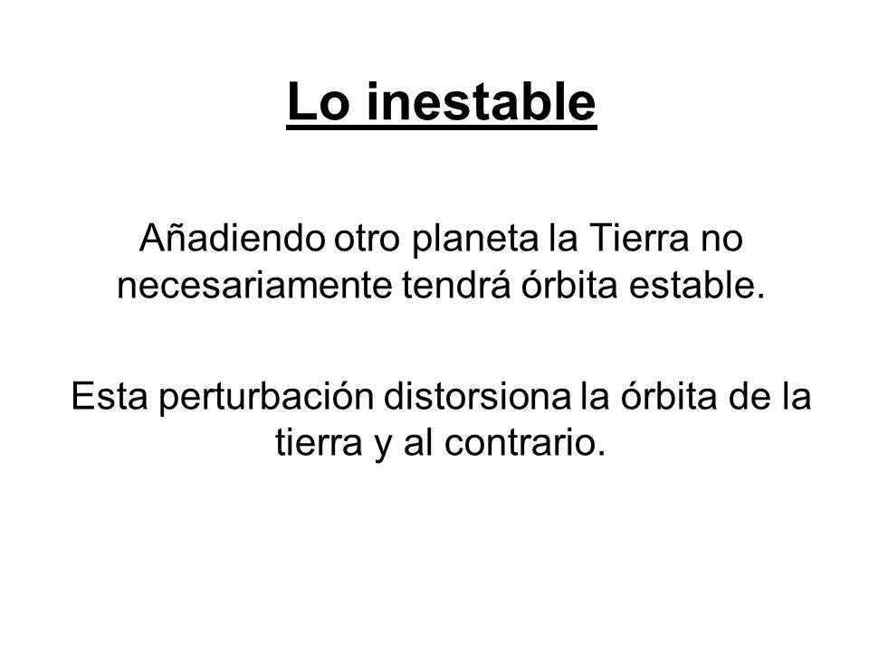 Lo inestable Añadiendo otro planeta la Tierra no necesariamente tendrá órbita estable. Esta perturbación distorsiona la órbita de la tierra y al contr