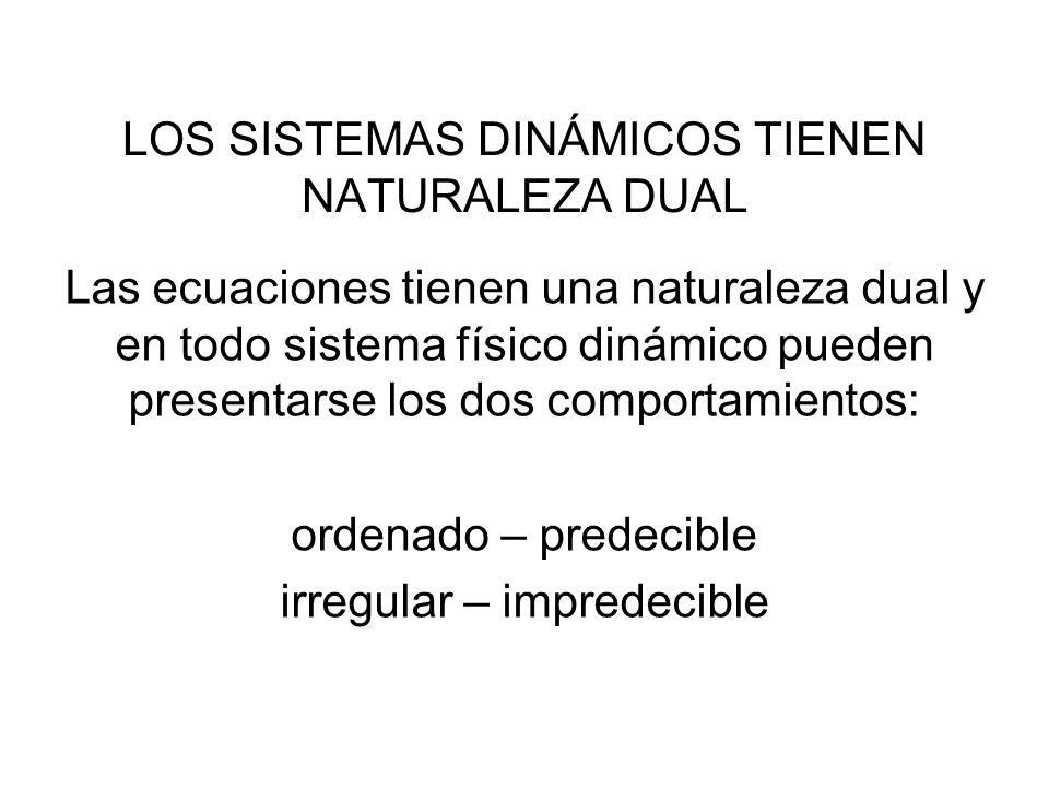 LOS SISTEMAS DINÁMICOS TIENEN NATURALEZA DUAL Las ecuaciones tienen una naturaleza dual y en todo sistema físico dinámico pueden presentarse los dos c