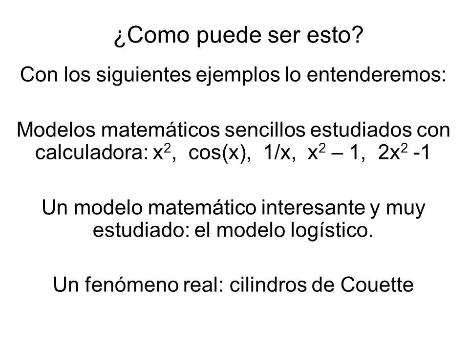 ¿Como puede ser esto? Con los siguientes ejemplos lo entenderemos: Modelos matemáticos sencillos estudiados con calculadora: x 2, cos(x), 1/x, x 2 – 1