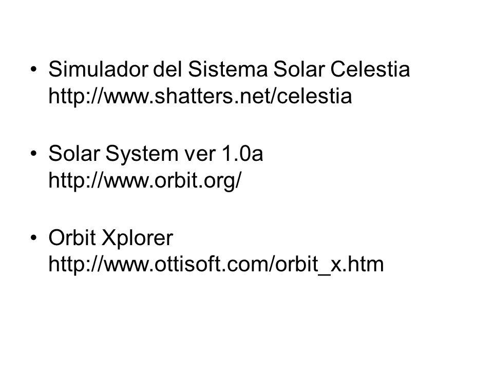 Simulador del Sistema Solar Celestia http://www.shatters.net/celestia Solar System ver 1.0a http://www.orbit.org/ Orbit Xplorer http://www.ottisoft.co