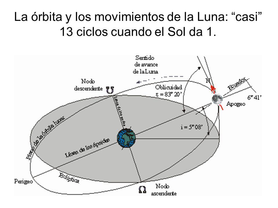 La órbita y los movimientos de la Luna: casi 13 ciclos cuando el Sol da 1.