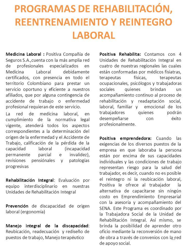PROGRAMAS DE REHABILITACIÓN, REENTRENAMIENTO Y REINTEGRO LABORAL Medicina Laboral : Positiva Compañía de Seguros S.A.,cuenta con la más amplia red de