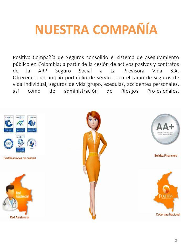 NUESTRA COMPAÑÍA Positiva Compañía de Seguros consolidó el sistema de aseguramiento público en Colombia; a partir de la cesión de activos pasivos y co