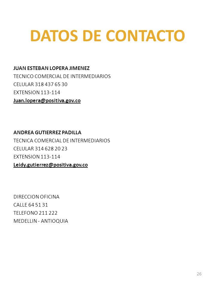 DATOS DE CONTACTO JUAN ESTEBAN LOPERA JIMENEZ TECNICO COMERCIAL DE INTERMEDIARIOS CELULAR 318 437 65 30 EXTENSION 113-114 Juan.lopera@positiva.gov.co