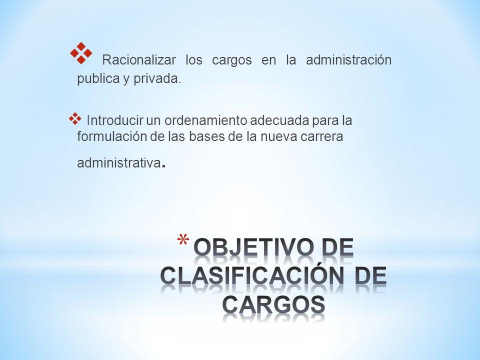 Racionalizar los cargos en la administración publica y privada.