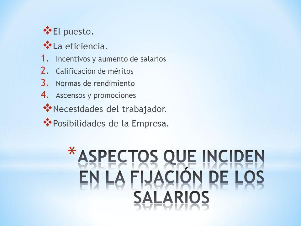 El puesto.La eficiencia. 1. Incentivos y aumento de salarios 2.