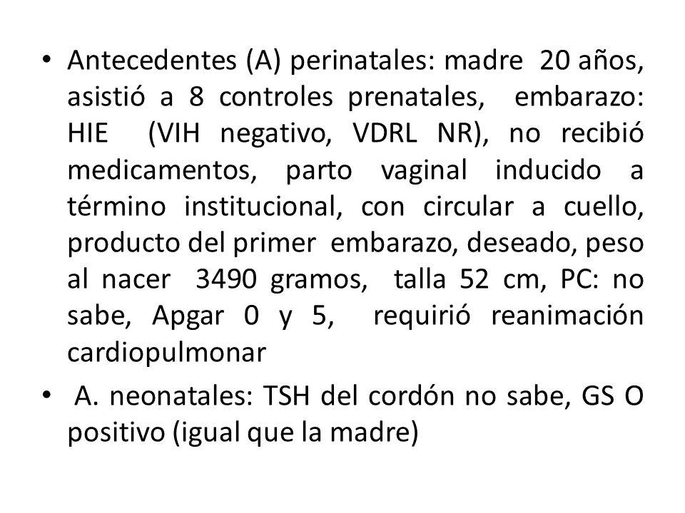 Antecedentes (A) perinatales: madre 20 años, asistió a 8 controles prenatales, embarazo: HIE (VIH negativo, VDRL NR), no recibió medicamentos, parto v