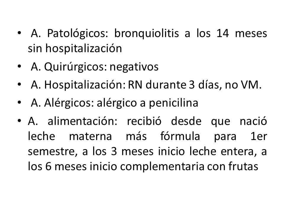 A. Patológicos: bronquiolitis a los 14 meses sin hospitalización A. Quirúrgicos: negativos A. Hospitalización: RN durante 3 días, no VM. A. Alérgicos:
