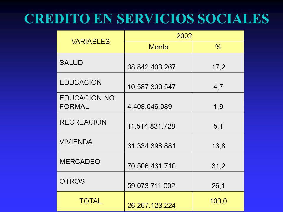 VARIABLES 2002 Monto% SALUD 38.842.403.267 17,2 EDUCACION 10.587.300.547 4,7 EDUCACION NO FORMAL 4.408.046.089 1,9 RECREACION 11.514.831.728 5,1 VIVIENDA 31.334.398.881 13,8 MERCADEO 70.506.431.710 31,2 OTROS 59.073.711.002 26,1 TOTAL 26.267.123.224 100,0 CREDITO EN SERVICIOS SOCIALES