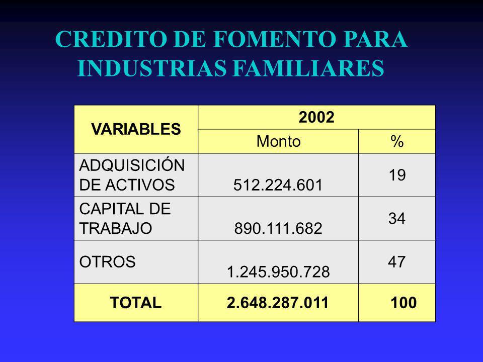 CREDITO DE FOMENTO PARA INDUSTRIAS FAMILIARES VARIABLES 2002 Monto% ADQUISICIÓN DE ACTIVOS 512.224.601 19 CAPITAL DE TRABAJO 890.111.682 34 OTROS 1.245.950.728 47 TOTAL2.648.287.011 100