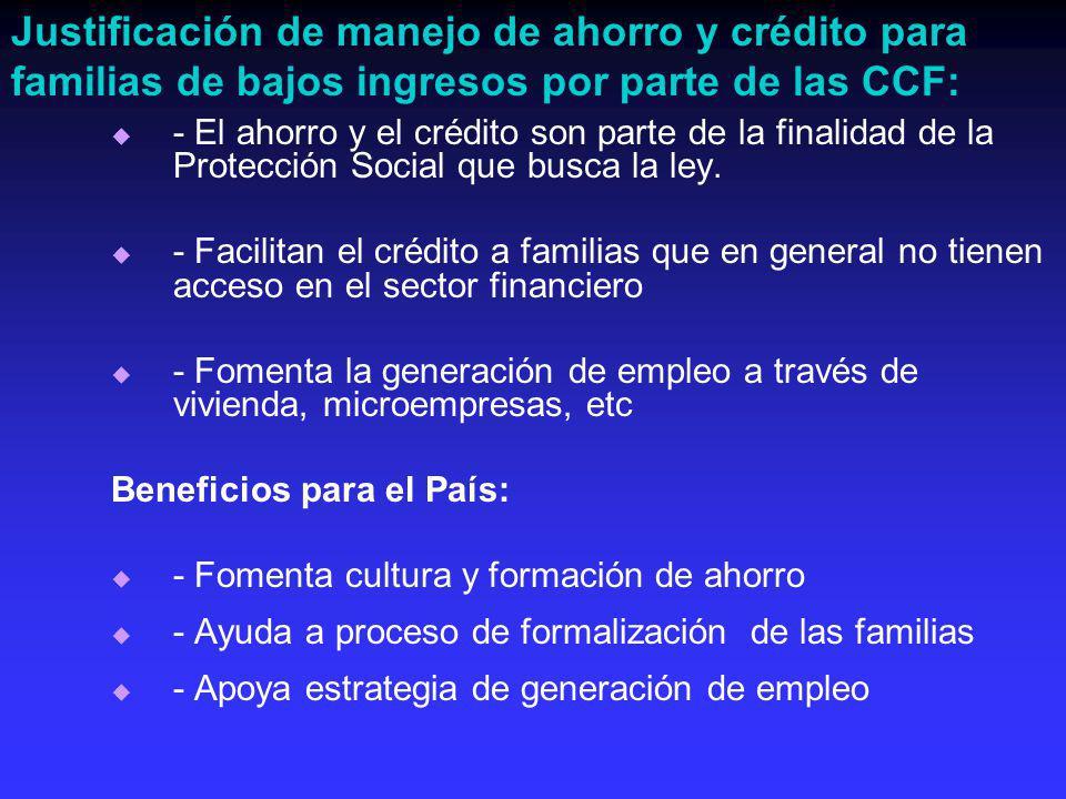 - El ahorro y el crédito son parte de la finalidad de la Protección Social que busca la ley.