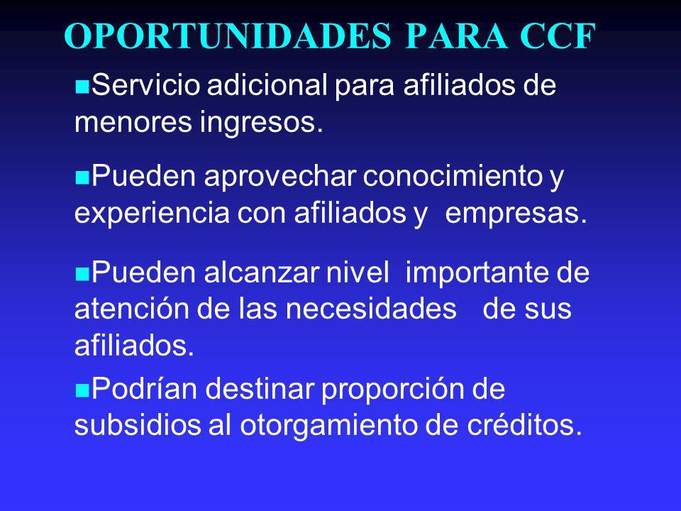 OPORTUNIDADES PARA CCF Servicio adicional para afiliados de menores ingresos.