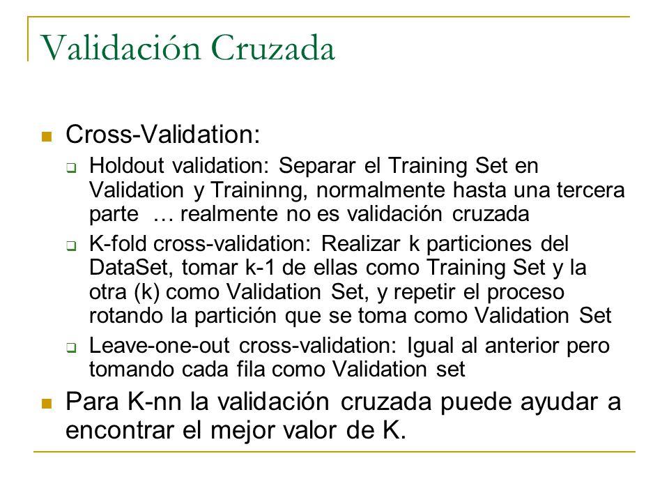 Validación Cruzada Cross-Validation: Holdout validation: Separar el Training Set en Validation y Traininng, normalmente hasta una tercera parte … realmente no es validación cruzada K-fold cross-validation: Realizar k particiones del DataSet, tomar k-1 de ellas como Training Set y la otra (k) como Validation Set, y repetir el proceso rotando la partición que se toma como Validation Set Leave-one-out cross-validation: Igual al anterior pero tomando cada fila como Validation set Para K-nn la validación cruzada puede ayudar a encontrar el mejor valor de K.