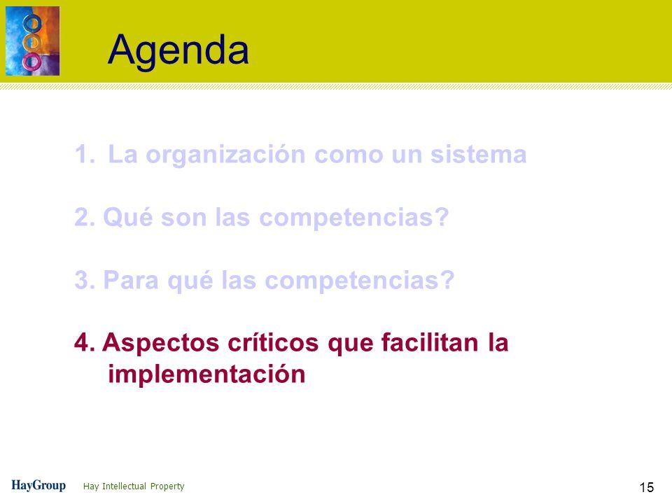 Hay Intellectual Property 15 Agenda 1.La organización como un sistema 2. Qué son las competencias? 3. Para qué las competencias? 4. Aspectos críticos