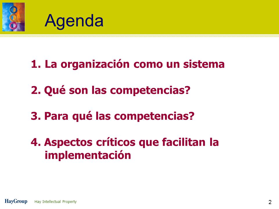 Hay Intellectual Property 2 Agenda 1.La organización como un sistema 2. Qué son las competencias? 3. Para qué las competencias? 4. Aspectos críticos q