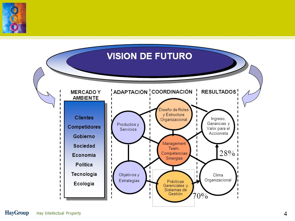 Hay Intellectual Property 4 MERCADO Y AMBIENTE ADAPTACIÓN COORDINACIÓNRESULTADOS Productos y Servicios Ingreso, Ganancias y Valor para el Accionista Diseño de Roles y Estructura Organizacional Clima Organizacional Objetivos y Estrategias Management Team, Competencias Sinergias Prácticas Gerenciales y Sistemas de Gestión Clientes Competidores Gobierno Sociedad Economía Política Tecnología Ecología VISION DE FUTURO 28% 70%