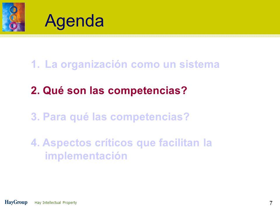 Hay Intellectual Property 7 Agenda 1.La organización como un sistema 2. Qué son las competencias? 3. Para qué las competencias? 4. Aspectos críticos q