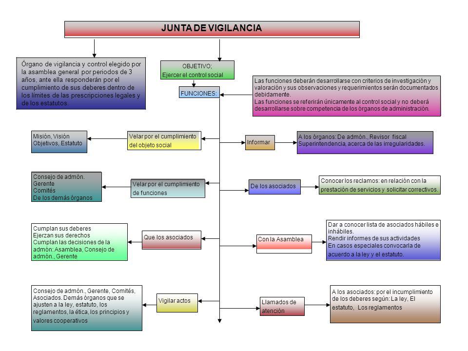 CONSEJO DE ADMINISTRACION FUNCIONES: Las funciones se referirán a la administración de los proyectos y servicios y al control de la Gerencia para su e