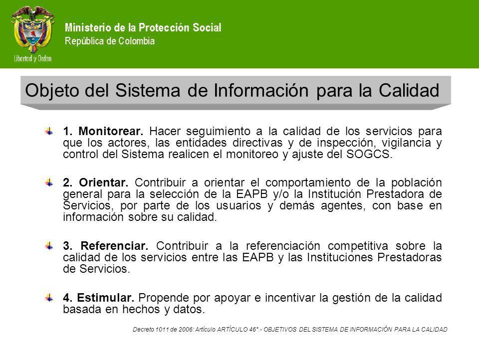 Principios del Sistema de Información para la Calidad 1.