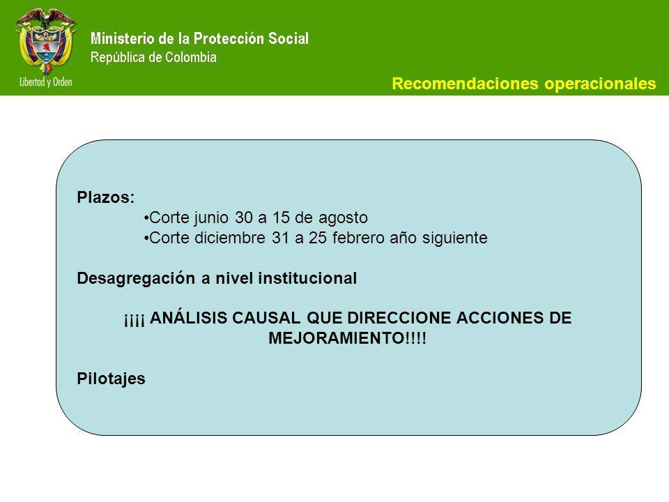 Recomendaciones operacionales Plazos: Corte junio 30 a 15 de agosto Corte diciembre 31 a 25 febrero año siguiente Desagregación a nivel institucional