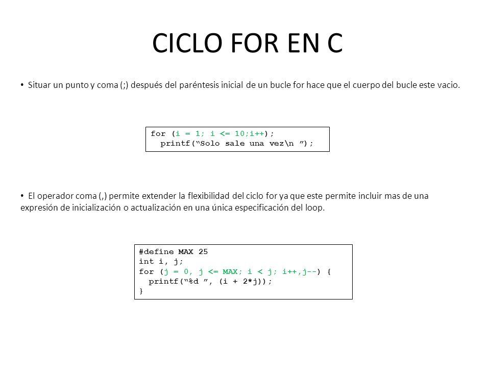 CICLO FOR EN C for (i = 1; i <= 10;i++); printf(Solo sale una vez\n ); Situar un punto y coma (;) después del paréntesis inicial de un bucle for hace que el cuerpo del bucle este vacio.