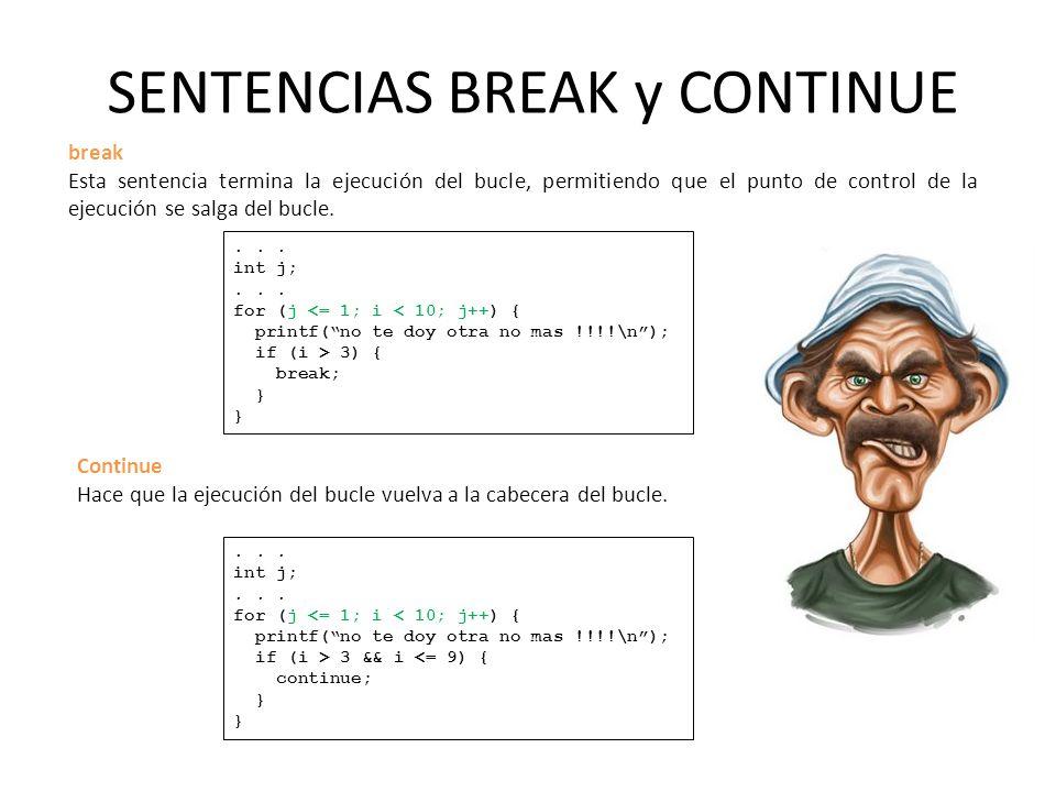 SENTENCIAS BREAK y CONTINUE break Esta sentencia termina la ejecución del bucle, permitiendo que el punto de control de la ejecución se salga del bucle....