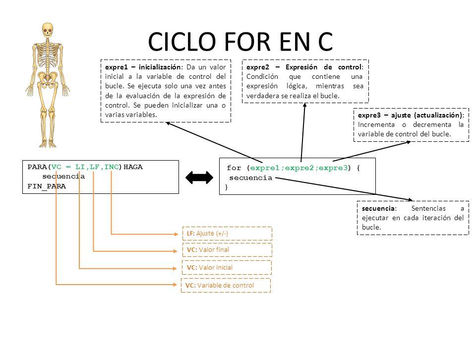 CICLO FOR EN C PARA(VC = LI,LF,INC)HAGA secuencia FIN_PARA for (expre1;expre2;expre3) { secuencia } expre1 – inicialización: Da un valor inicial a la variable de control del bucle.