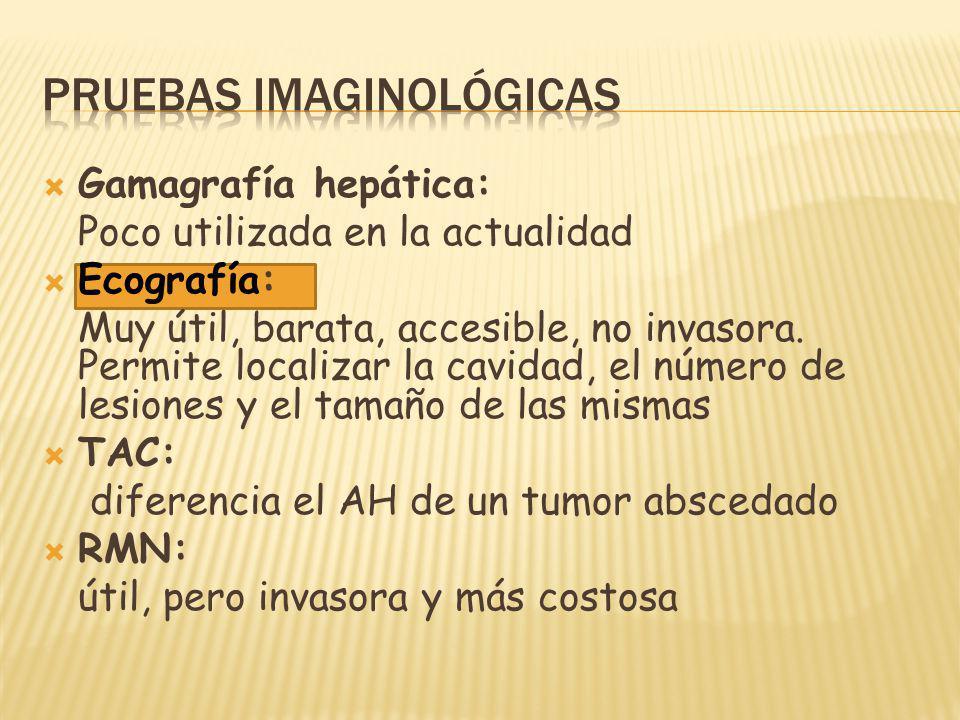Gamagrafía hepática: Poco utilizada en la actualidad Ecografía: Muy útil, barata, accesible, no invasora. Permite localizar la cavidad, el número de l