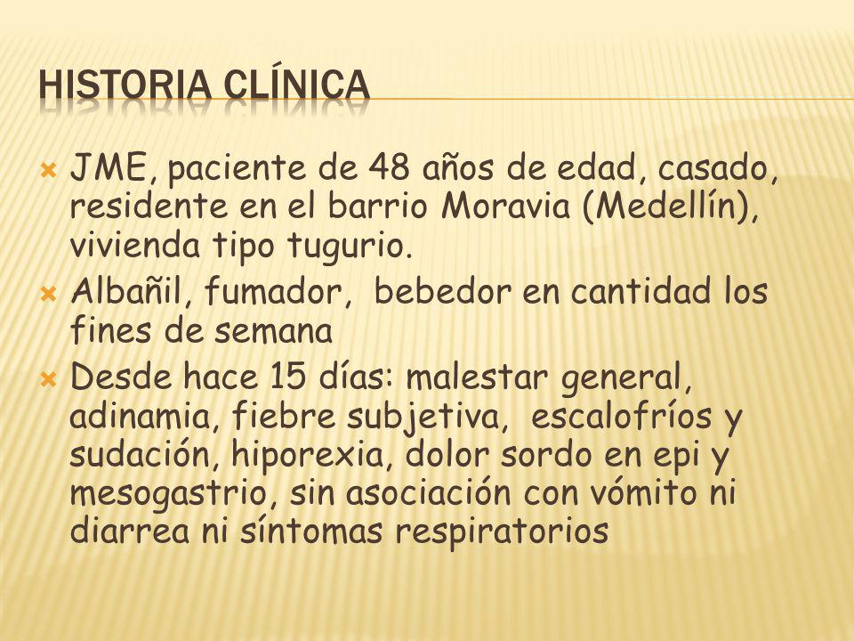 JME, paciente de 48 años de edad, casado, residente en el barrio Moravia (Medellín), vivienda tipo tugurio. Albañil, fumador, bebedor en cantidad los