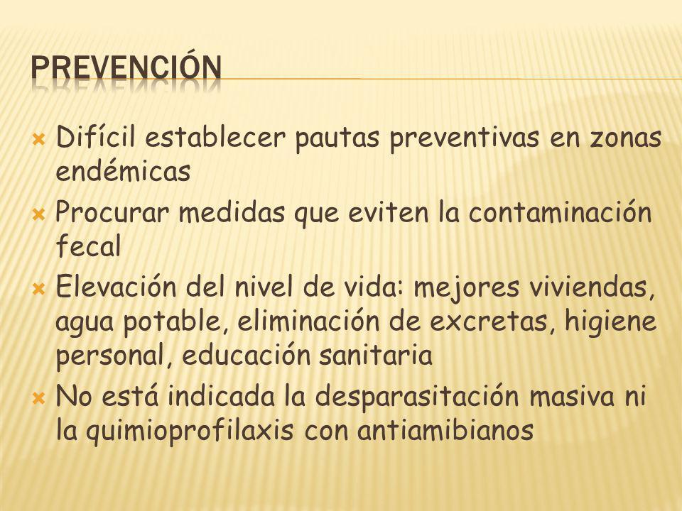Difícil establecer pautas preventivas en zonas endémicas Procurar medidas que eviten la contaminación fecal Elevación del nivel de vida: mejores vivie