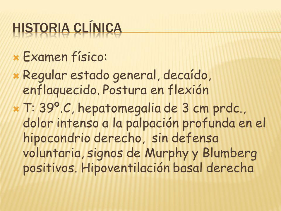 Examen físico: Regular estado general, decaído, enflaquecido. Postura en flexión T: 39º.C, hepatomegalia de 3 cm prdc., dolor intenso a la palpación p