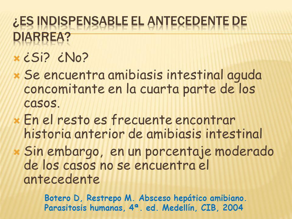 ¿Si? ¿No? Se encuentra amibiasis intestinal aguda concomitante en la cuarta parte de los casos. En el resto es frecuente encontrar historia anterior d