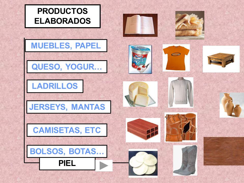 PIEL PRODUCTOS ELABORADOS MUEBLES, PAPEL QUESO, YOGUR… LADRILLOS JERSEYS, MANTAS CAMISETAS, ETC BOLSOS, BOTAS…