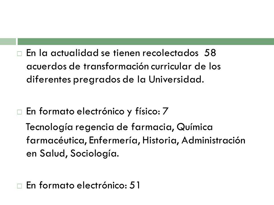 En la actualidad se tienen recolectados 58 acuerdos de transformación curricular de los diferentes pregrados de la Universidad. En formato electrónico