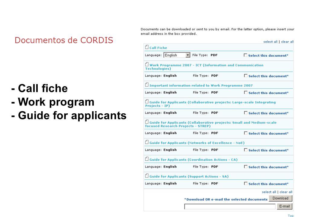 Documentos de CORDIS - Call fiche - Work program - Guide for applicants