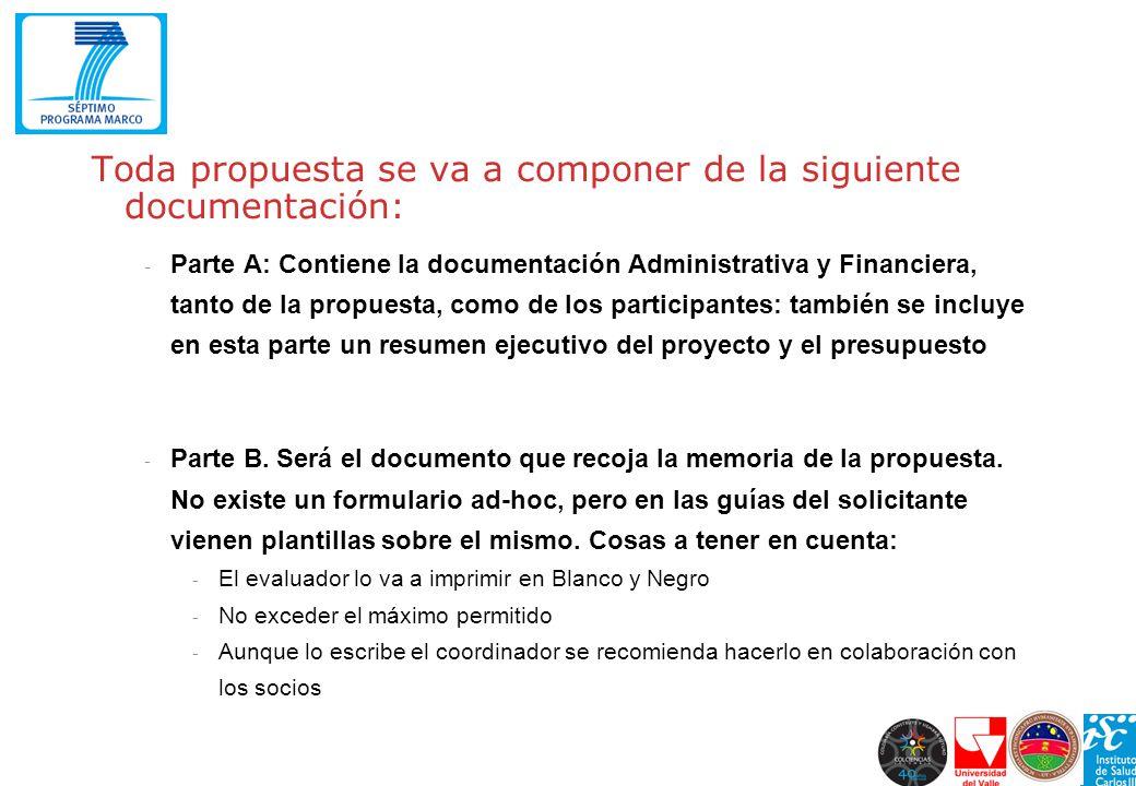 Toda propuesta se va a componer de la siguiente documentación: - Parte A: Contiene la documentación Administrativa y Financiera, tanto de la propuesta