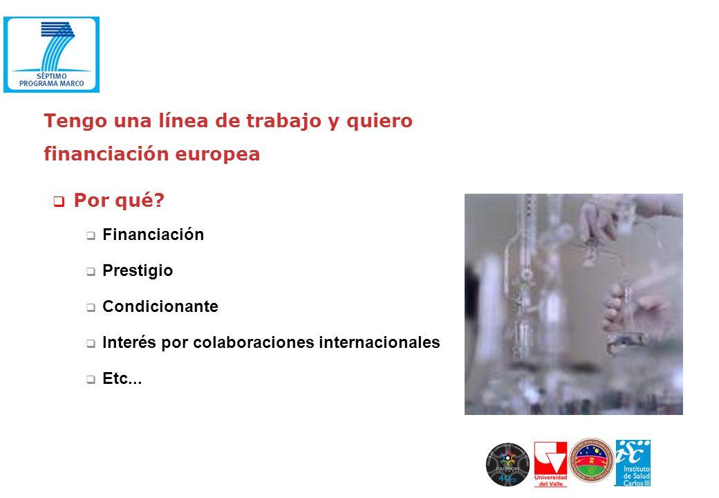 Tengo una línea de trabajo y quiero financiación europea Por qué? Financiación Prestigio Condicionante Interés por colaboraciones internacionales Etc.