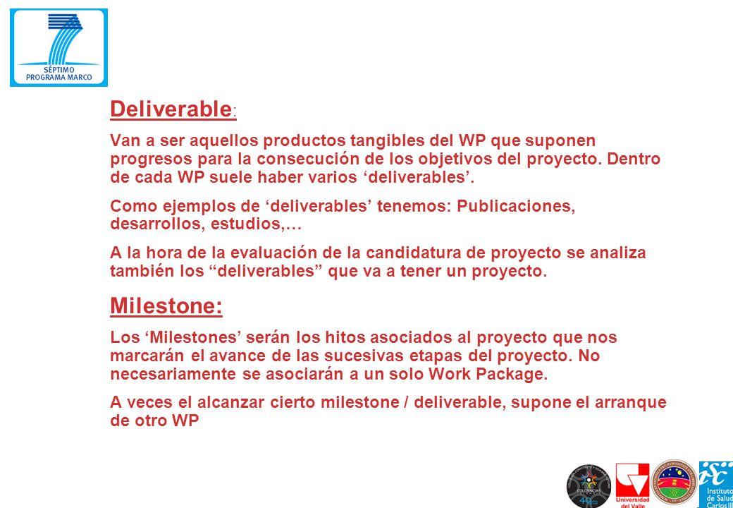 Deliverable : Van a ser aquellos productos tangibles del WP que suponen progresos para la consecución de los objetivos del proyecto. Dentro de cada WP