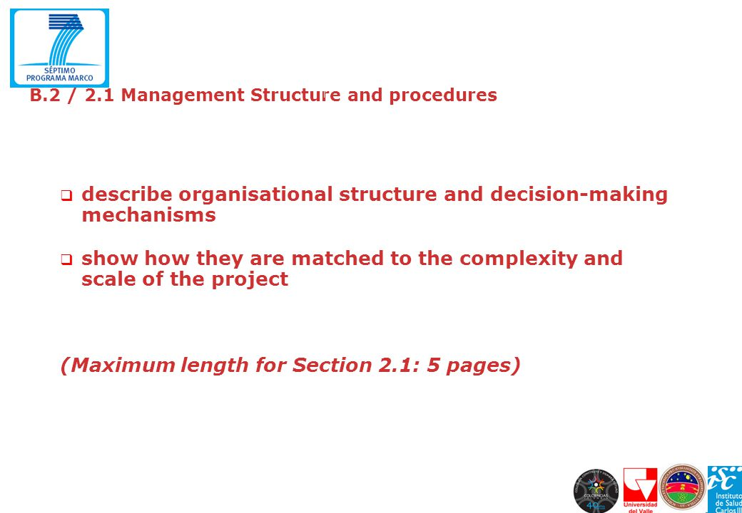 B.2 / 2.1 Management Structure and procedures describe organisational structure and decision-making mechanisms show how they are matched to the comple