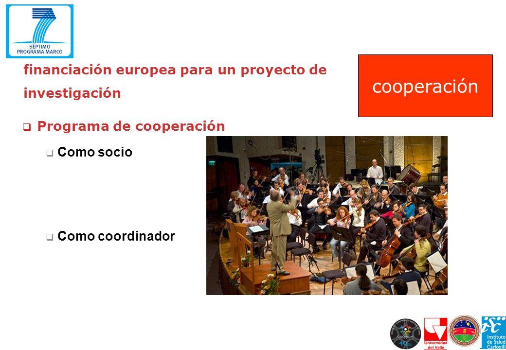 financiación europea para un proyecto de investigación Programa de cooperación Como socio Como coordinador cooperación