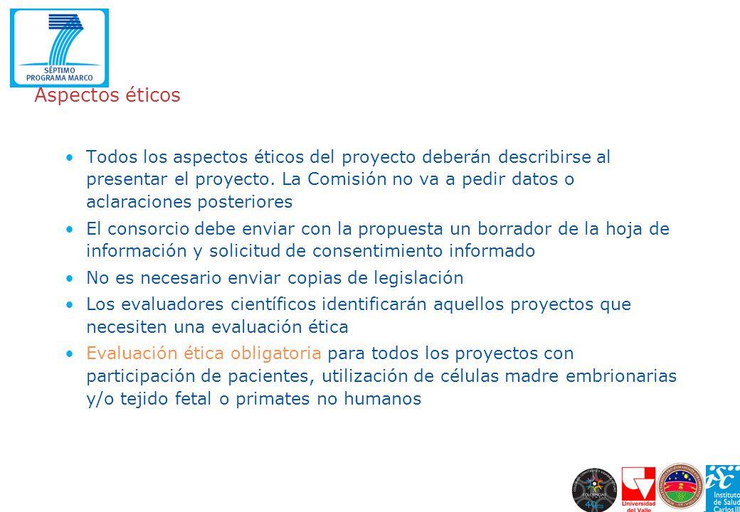 Aspectos éticos Todos los aspectos éticos del proyecto deberán describirse al presentar el proyecto. La Comisión no va a pedir datos o aclaraciones po