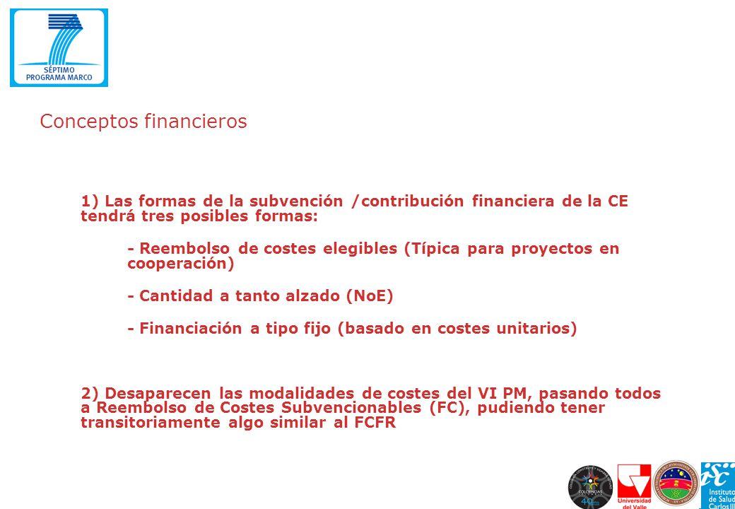Conceptos financieros 1) Las formas de la subvención /contribución financiera de la CE tendrá tres posibles formas: - Reembolso de costes elegibles (T