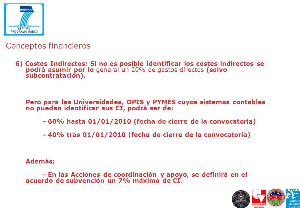 Conceptos financieros 6) Costes Indirectos: Si no es posible identificar los costes indirectos se podrá asumir por lo general un 20% de gastos directo
