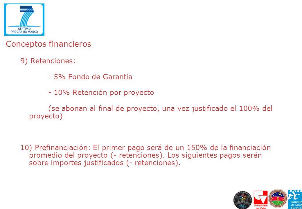 Conceptos financieros 9) Retenciones: - 5% Fondo de Garantía - 10% Retención por proyecto (se abonan al final de proyecto, una vez justificado el 100%