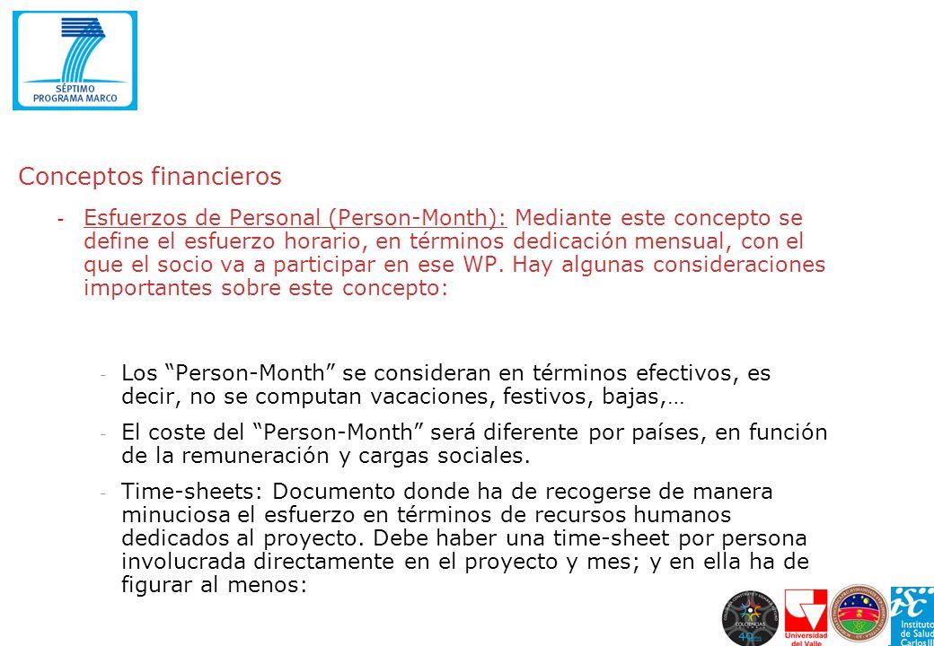 Conceptos financieros - Esfuerzos de Personal (Person-Month): Mediante este concepto se define el esfuerzo horario, en términos dedicación mensual, co