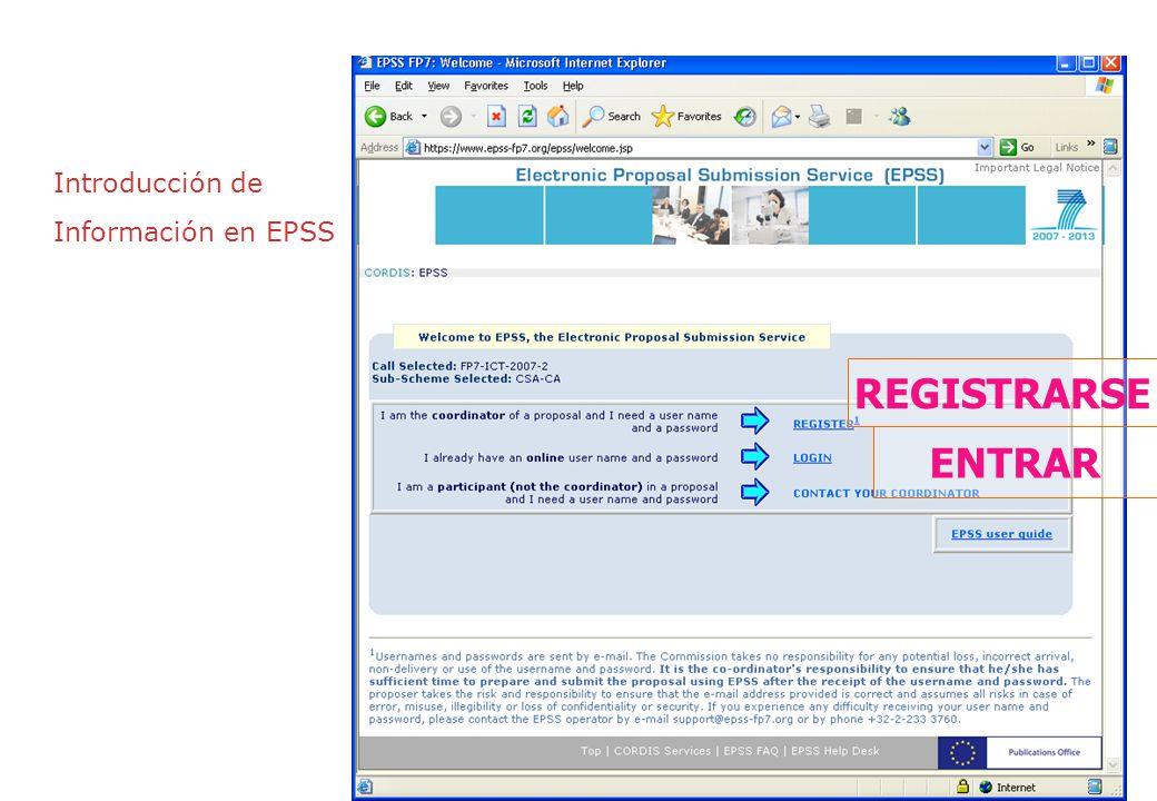 Introducción de Información en EPSS REGISTRARSE ENTRAR
