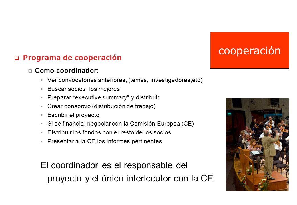 Programa de cooperación Como coordinador: Ver convocatorias anteriores, (temas, investigadores,etc) Buscar socios -los mejores Preparar executive summ